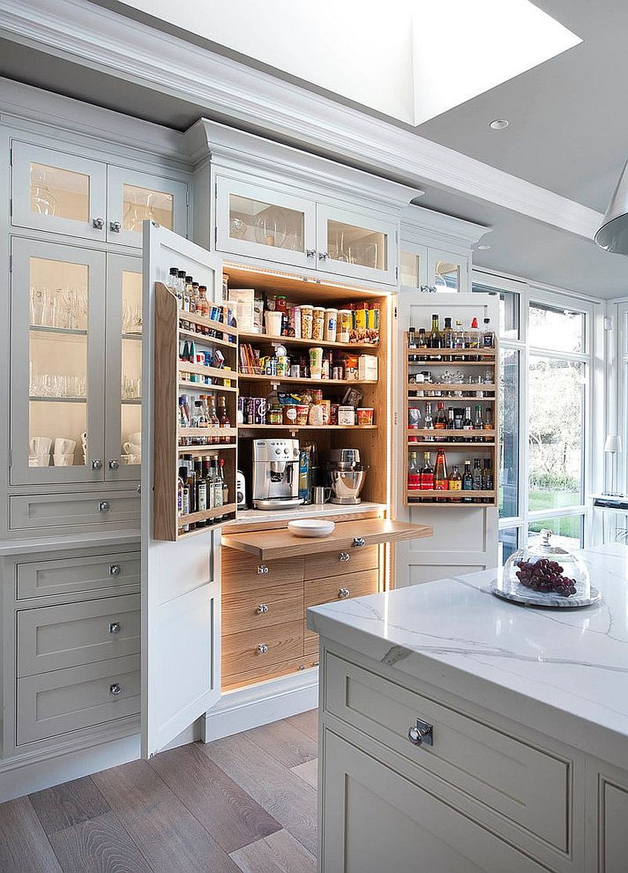 Tiny pantry can be integrated with the kitchen cabinets with ease