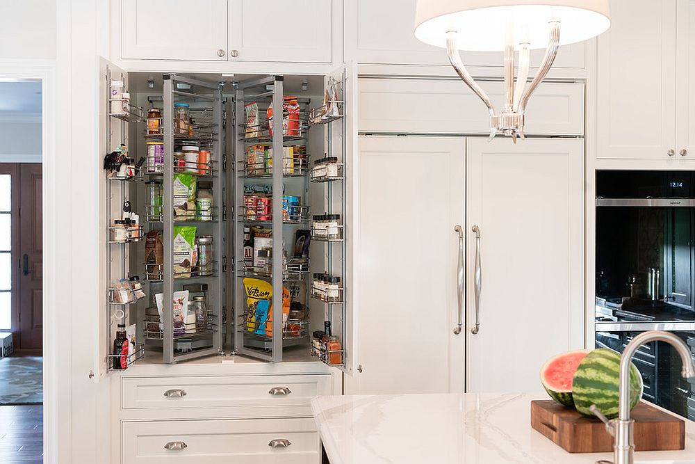 Transitional kitchen with tiny pantry