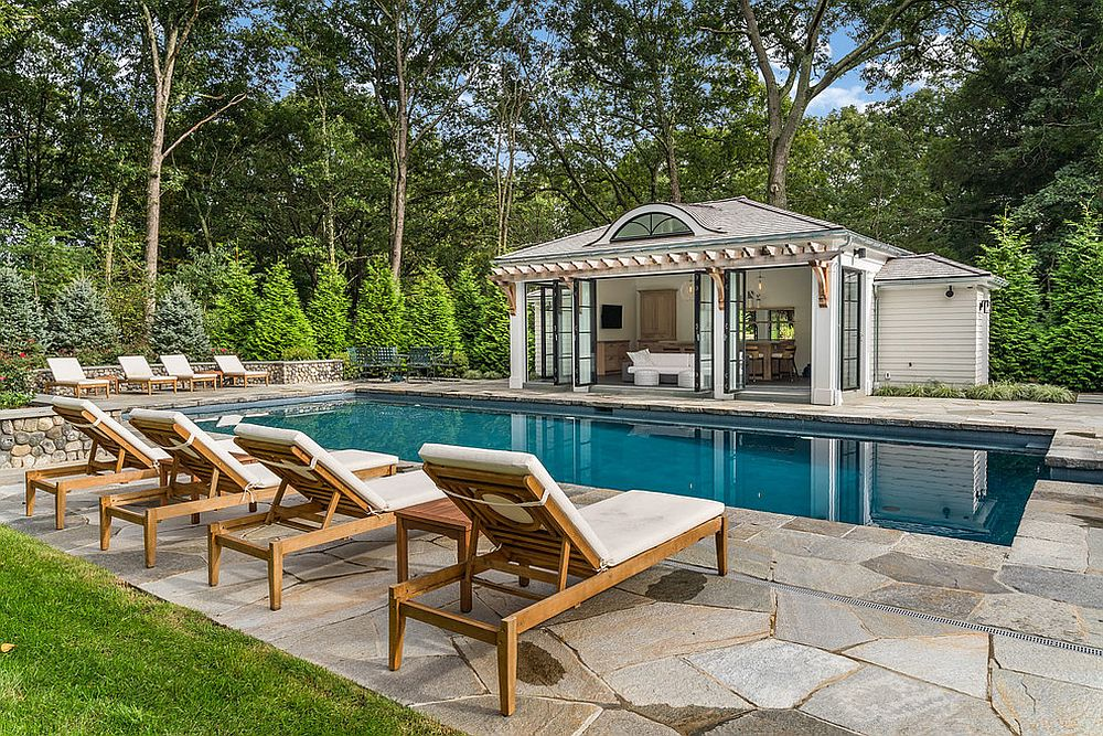 Turn the pool house into a beautiful escape that you can always enjoy