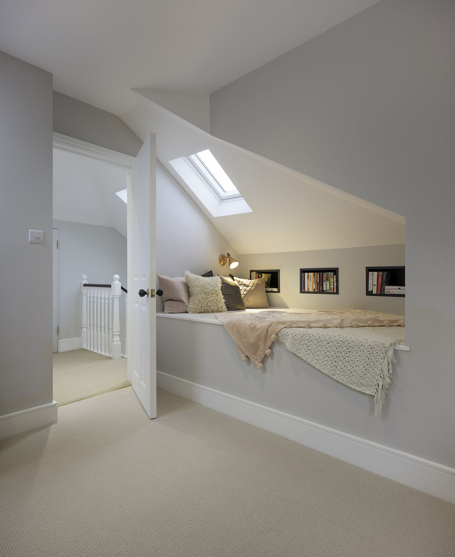 Upper level bedroom and attic reading nook