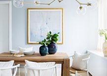 Urbane-beach-style-dining-room-with-glittering-pendant-217x155