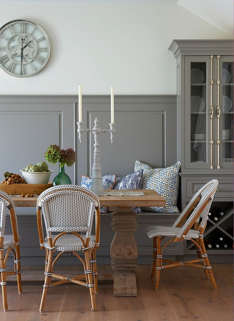 Using gray in the beach style dining space with flair