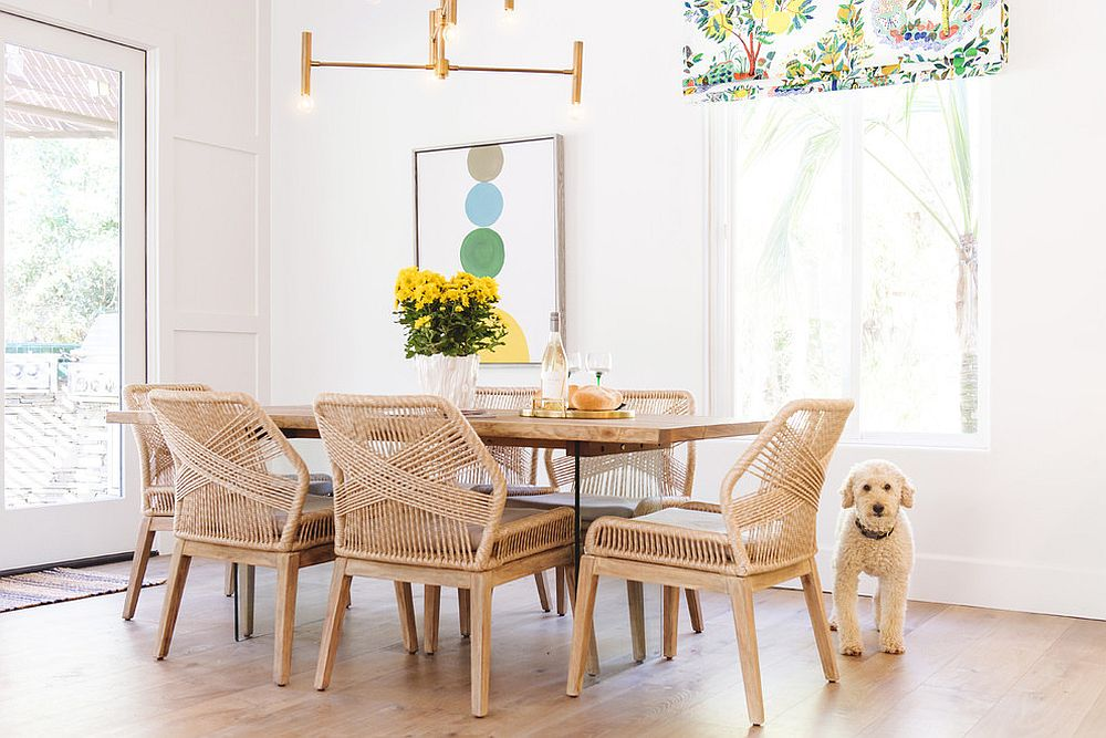 White and rattan take over in this light-filled, beach style dining room
