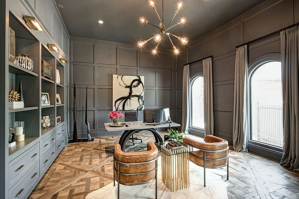 A touch of glam for the double-height home office with ample shelving space
