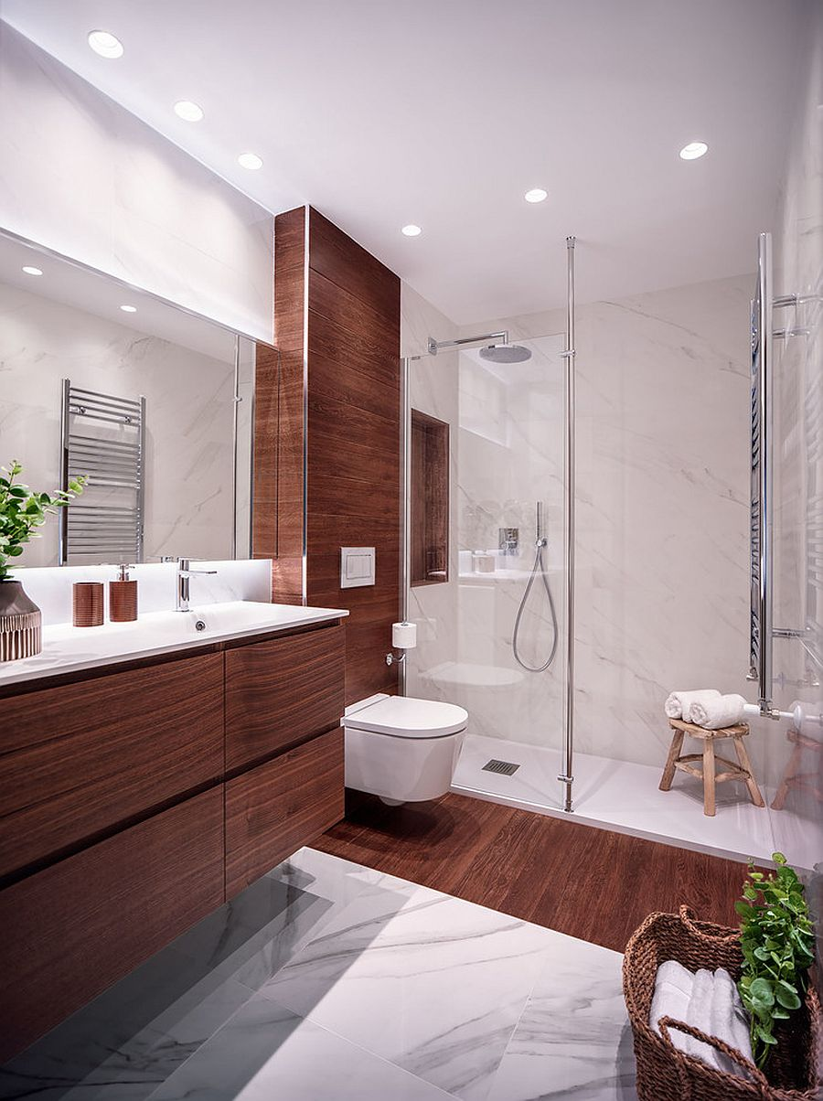 Adding-wood-to-the-contemporary-bathroom-brings-warmth-to-the-space