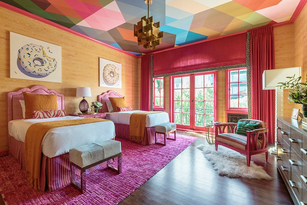 Awesome multi-colored ceiling for the vivacious bedroom
