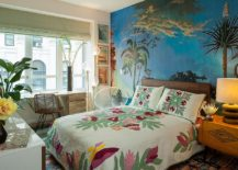 Beautiful-wall-mural-and-bedding-bring-color-to-this-tropical-style-bedroom-217x155