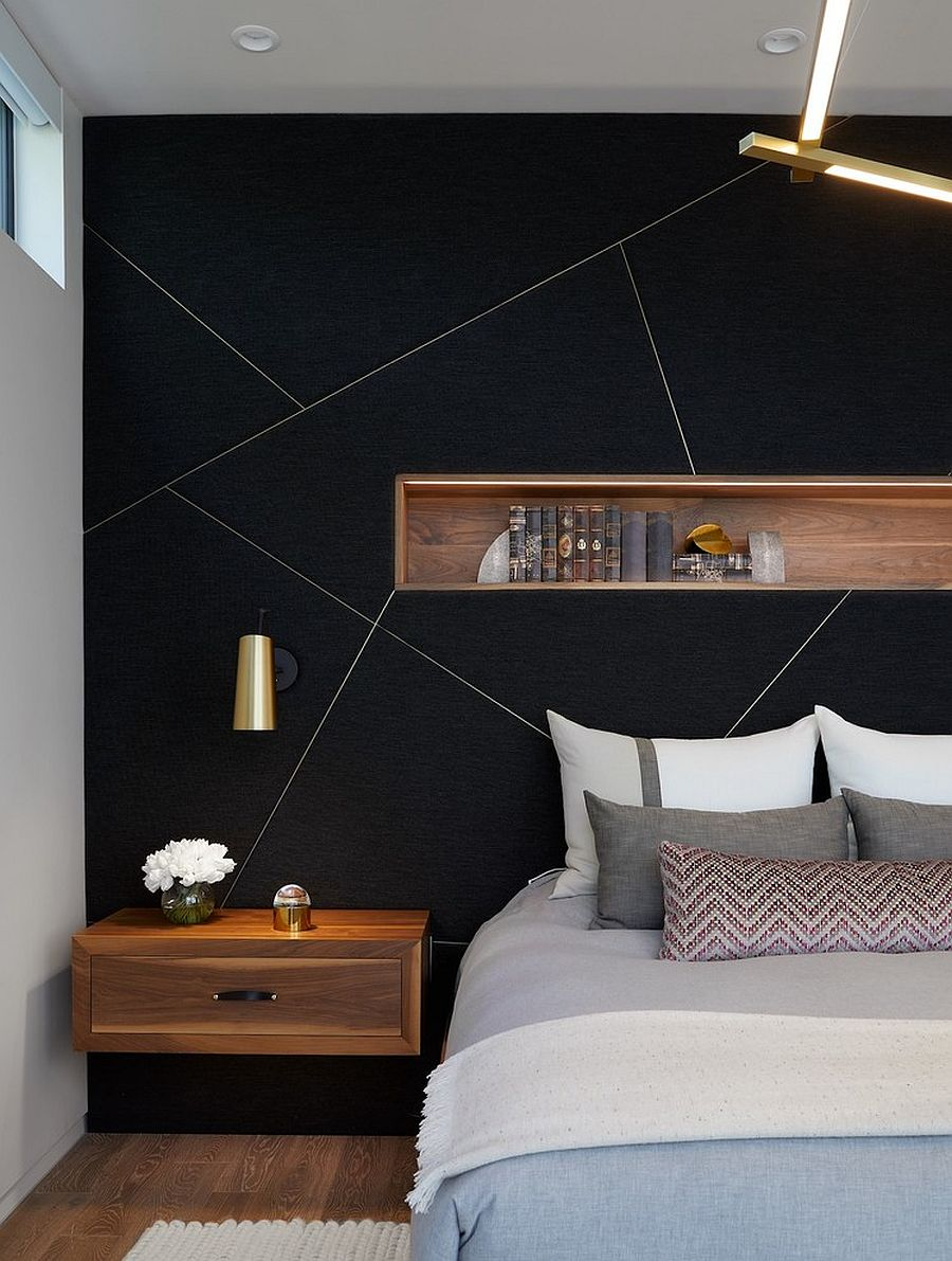 Dark And Dramatic Give Your Bedroom A Glam Makeover With Black Accent Wall