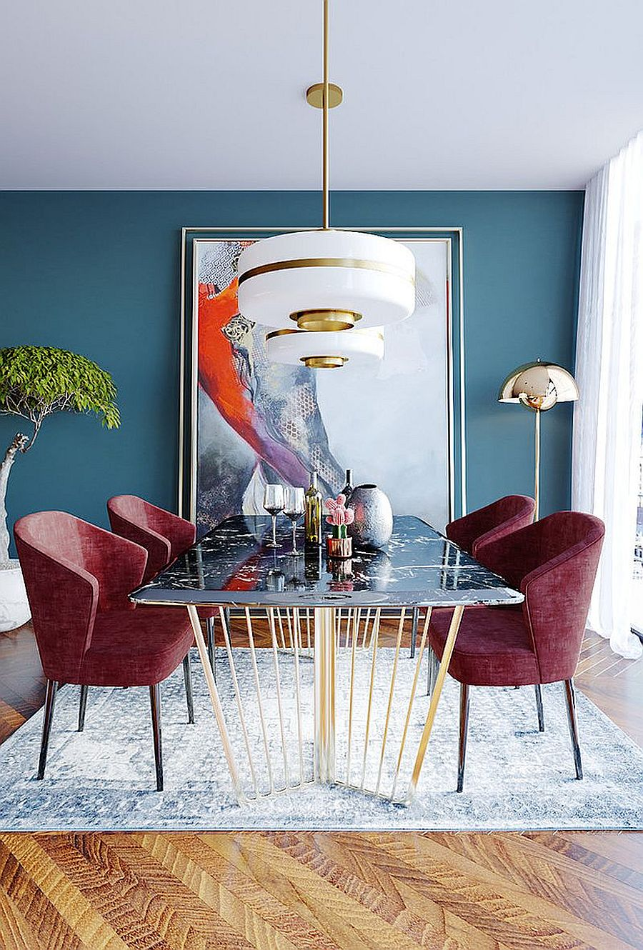 Blue dining room where metal and white mix beautifully