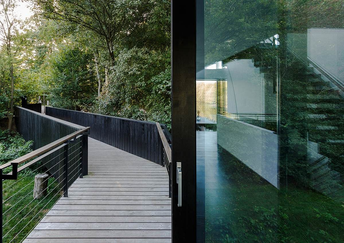 Curved entrance path through the thick layer of greenery leads to the lake house