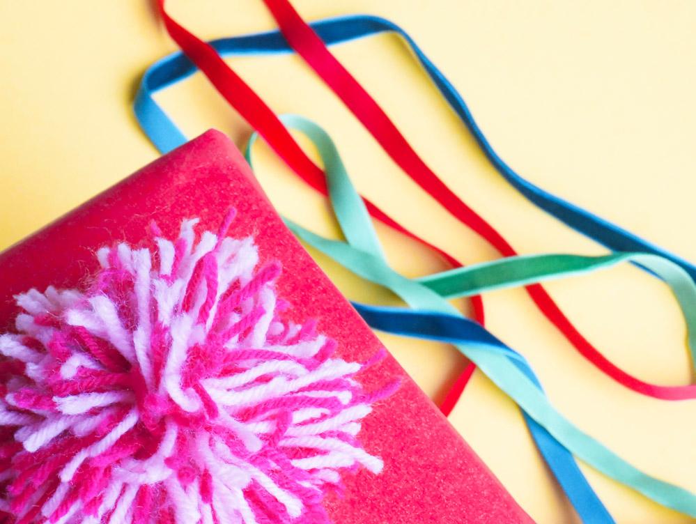 DIY pom pom for holiday gift wrap