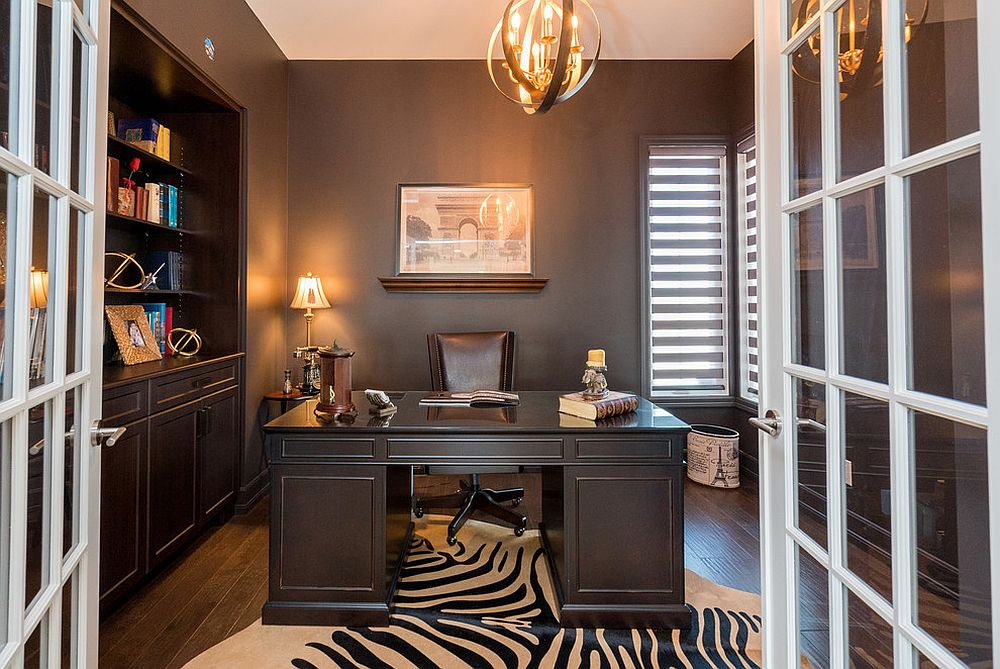 Dark gray and black home office with transitional charm