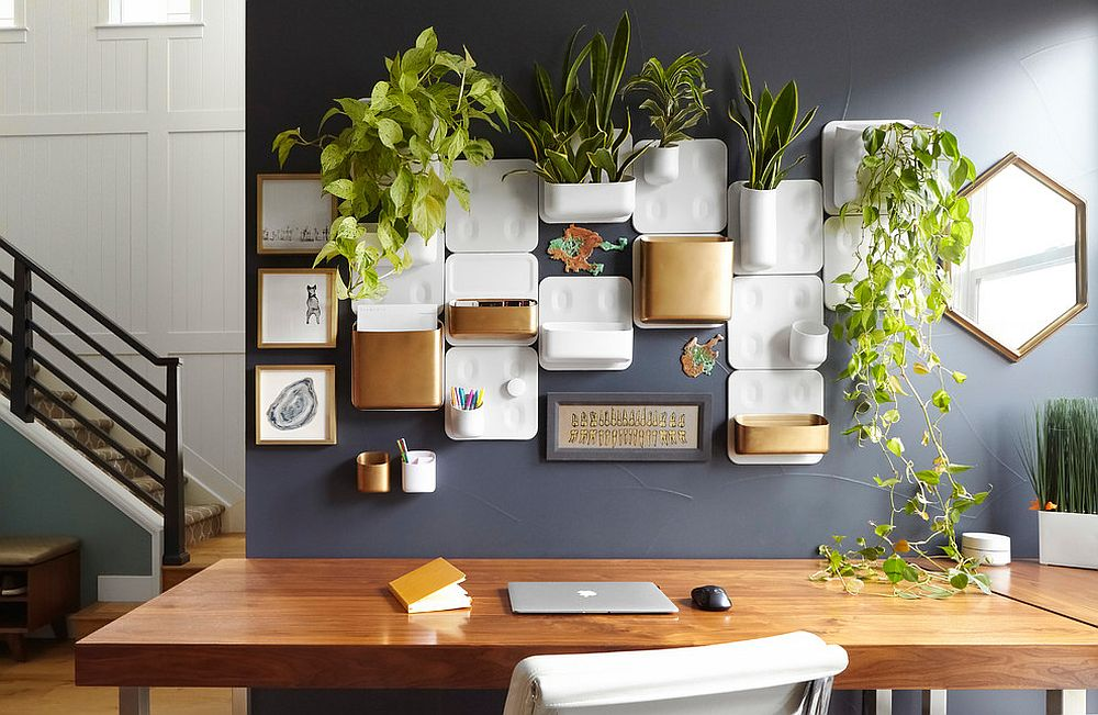 Dashing home office space in gray with lovely wall storage system and set of planters