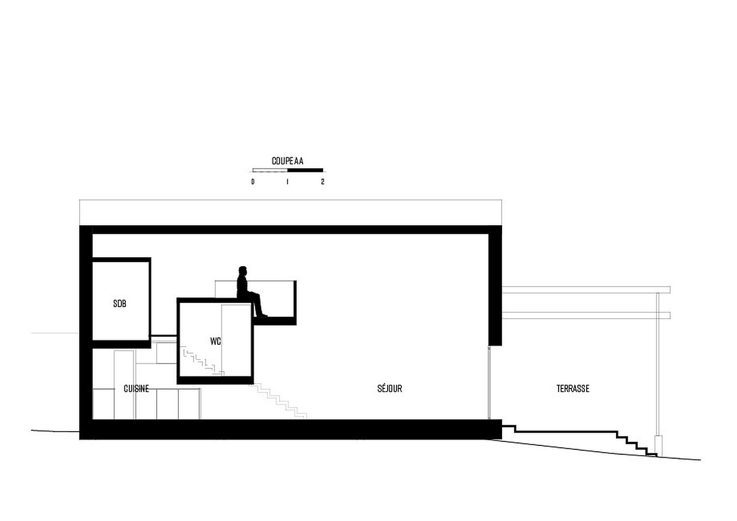 Design plan of white and wood home in Montreuil, France