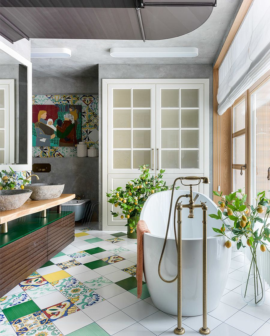 Eclectic-bathroom-in-white-and-wood-with-pops-of-green