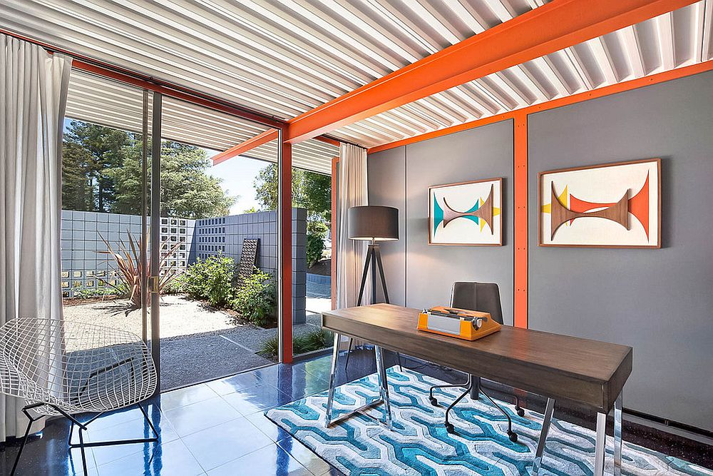 Eclectic-midcentury-home-office-with-vivacious-orange-accents