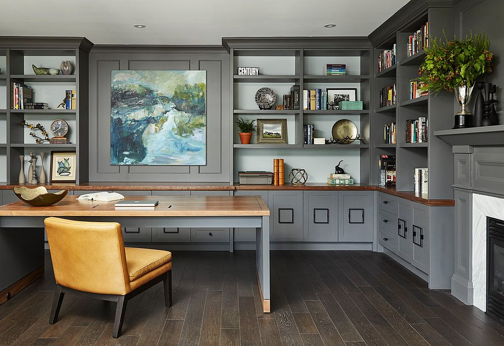 Extensive wall shelves and storage units in the spacious gray home office