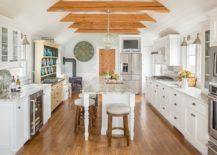 Farmhouse-style-kitchen-in-white-with-gorgeous-wooden-ceiling-beams-217x155