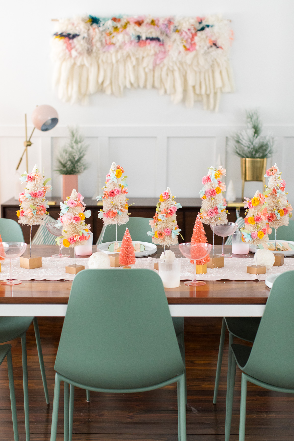 Faux flower bottle brush trees from Sugar & Cloth