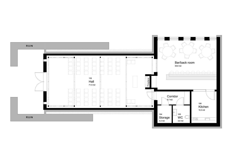 Floor plan of the renovated Ferstad Farm Distellery