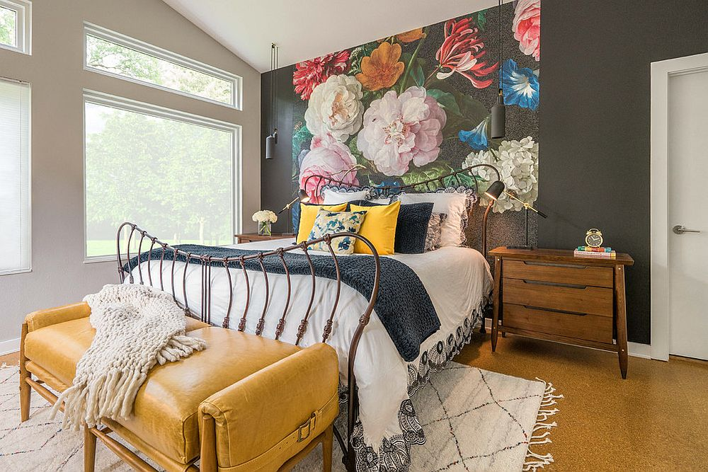 Flowery backdrop for the dreamy eclectic bedroom