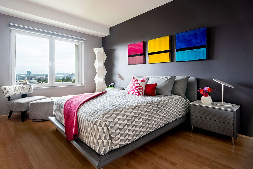 Fun way to add color to the modern bedroom
