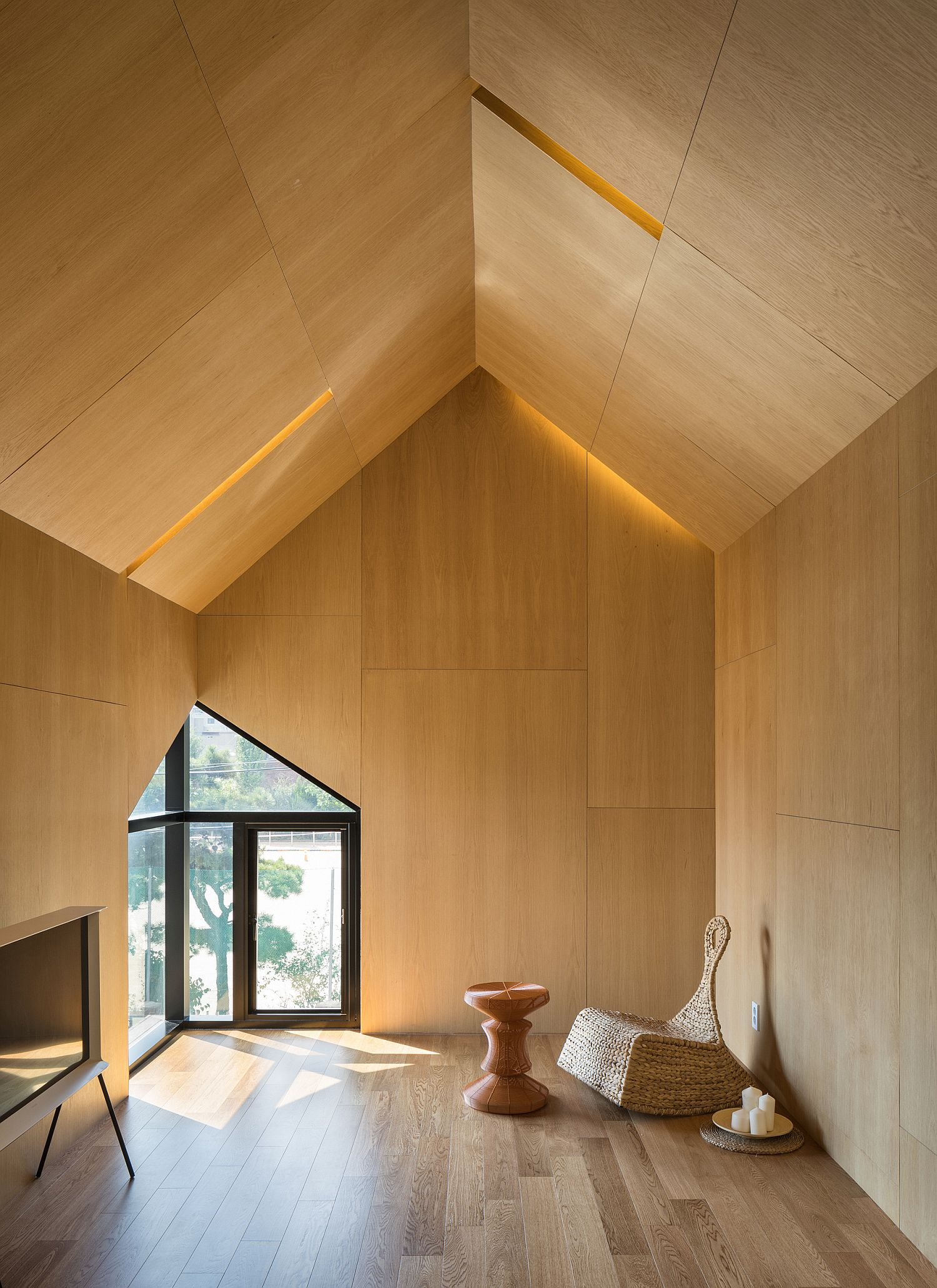 Gabled upper level space in wood is a showstopper
