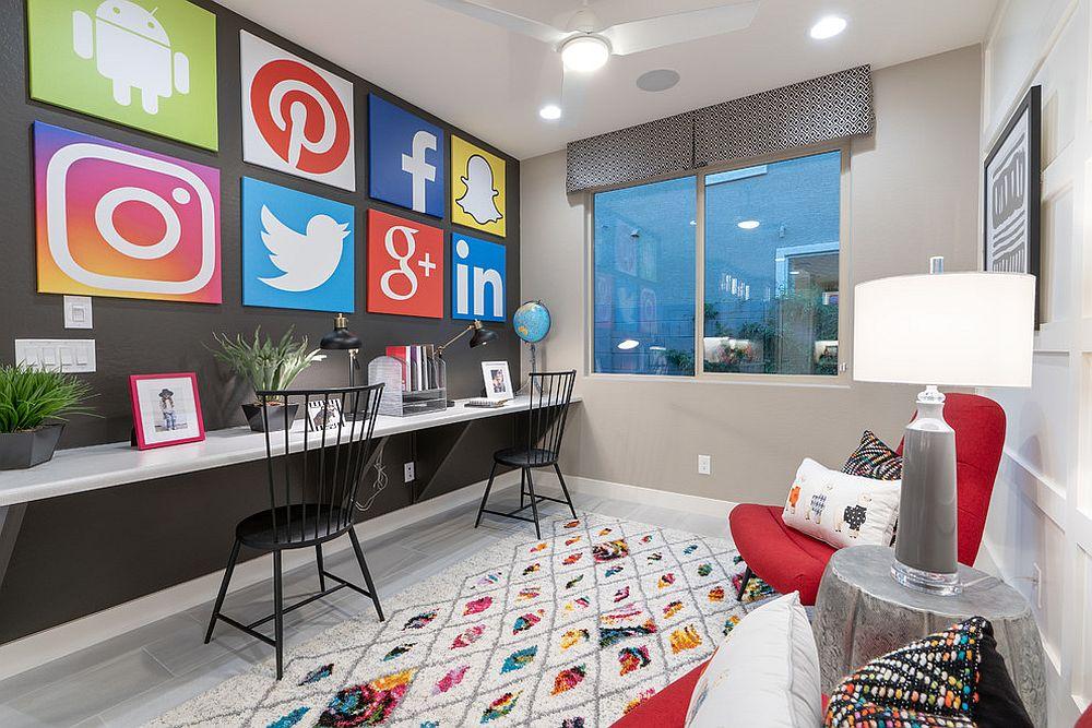 Gray home office wall art inspired by social media