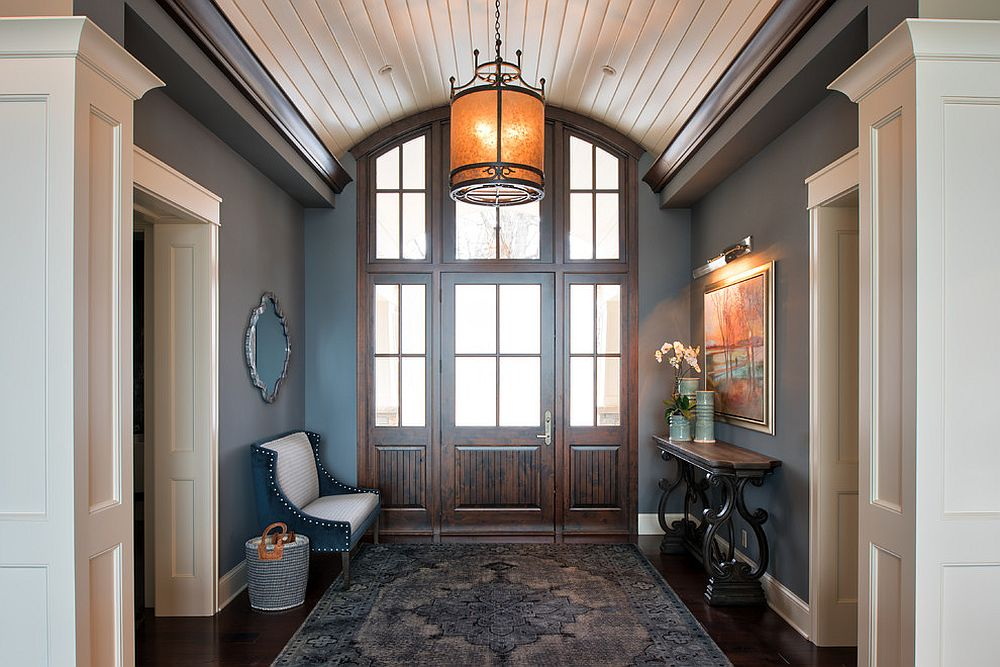 Gray used beautifully in the spacious traditional entry
