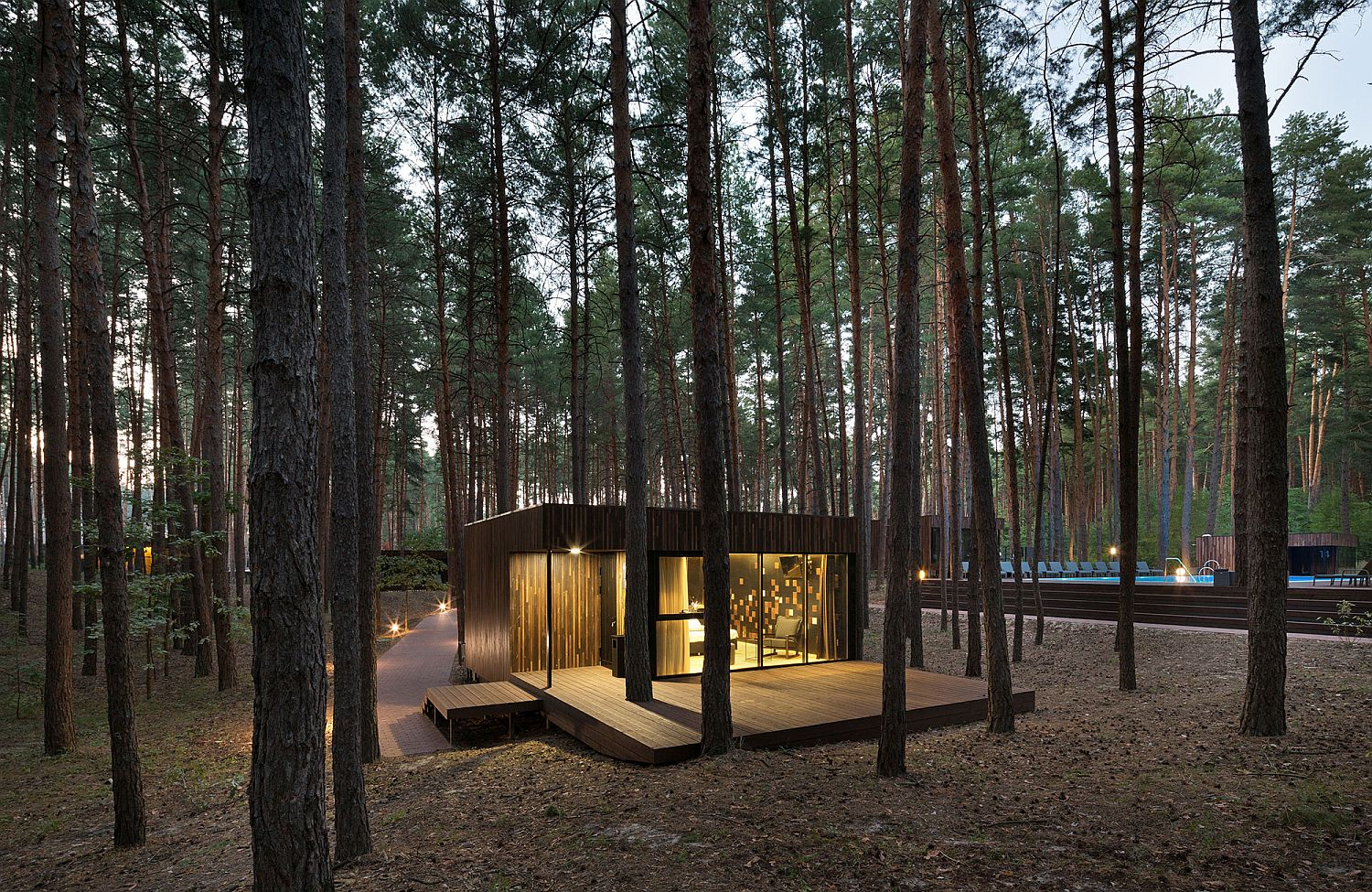 Low Eco-Impact Guest Houses with Minimal Interior Take You Inside a Pine Forest!