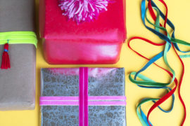 DIY Holiday Gift Wrap with Tassels and Velvet Ribbon