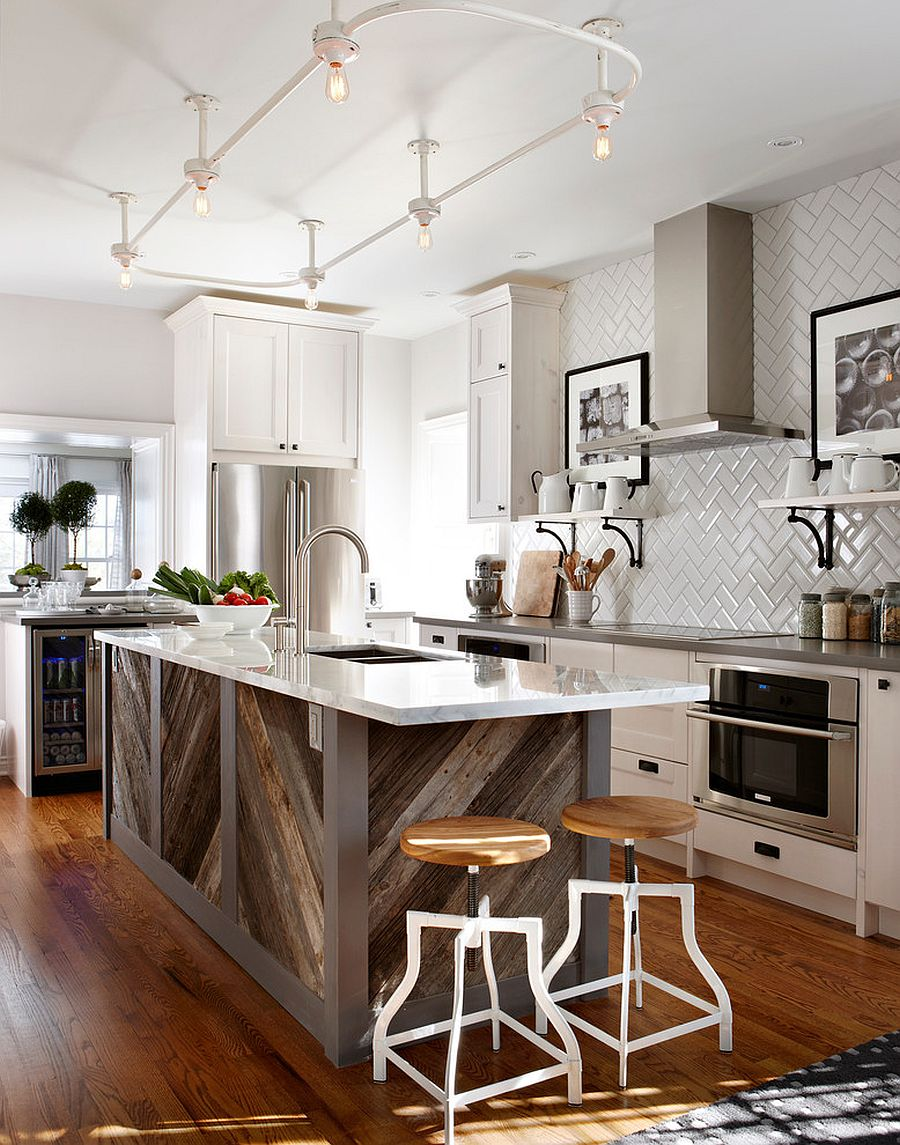 Kitchen island in reclaimed wood makes a big visual impac in the white kitchen