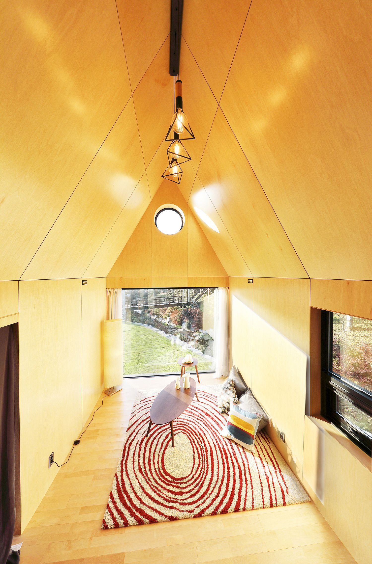 Livng area of the tiny home viewed from the loft