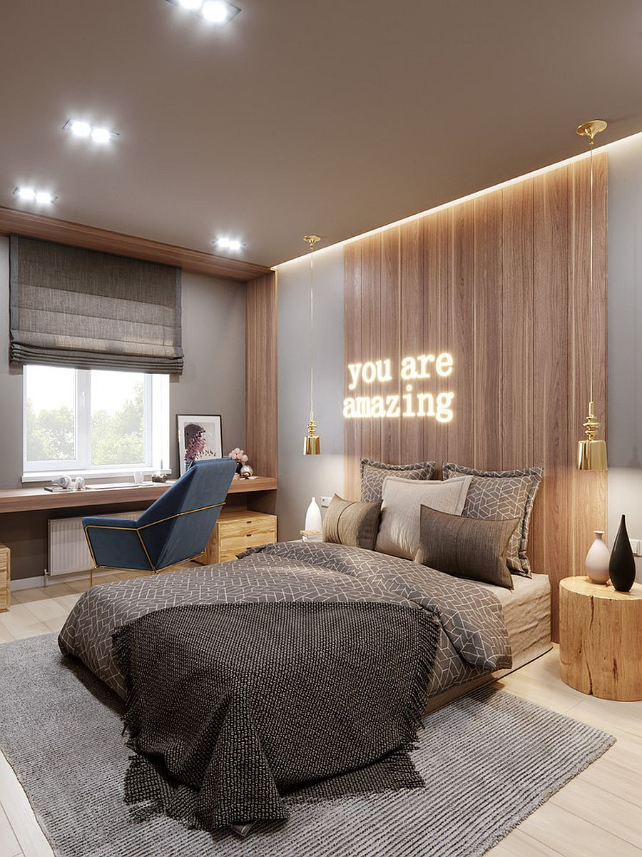 Lovely use of neon lighting in the contemporary bedroom