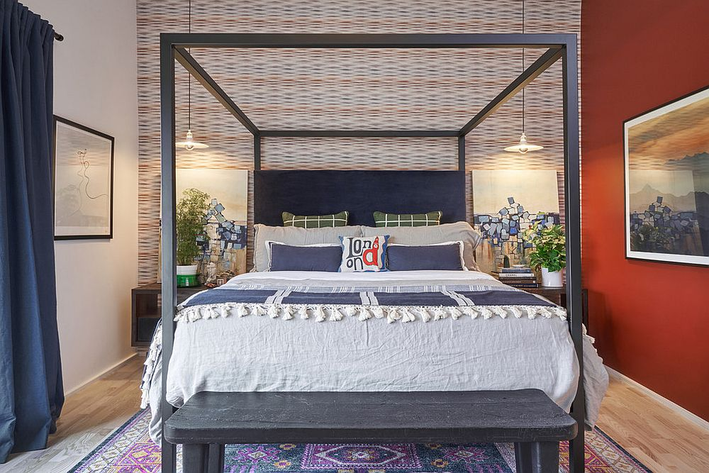 Modern Mediterranean bedroom in orange and purple