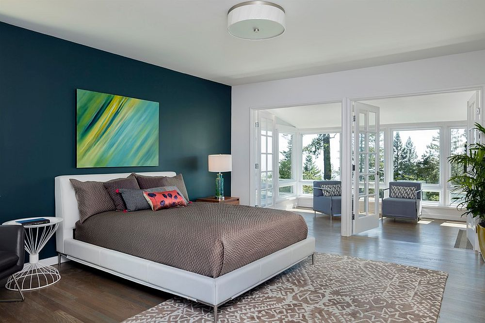 Modern art piece adds style and color to the bedroom