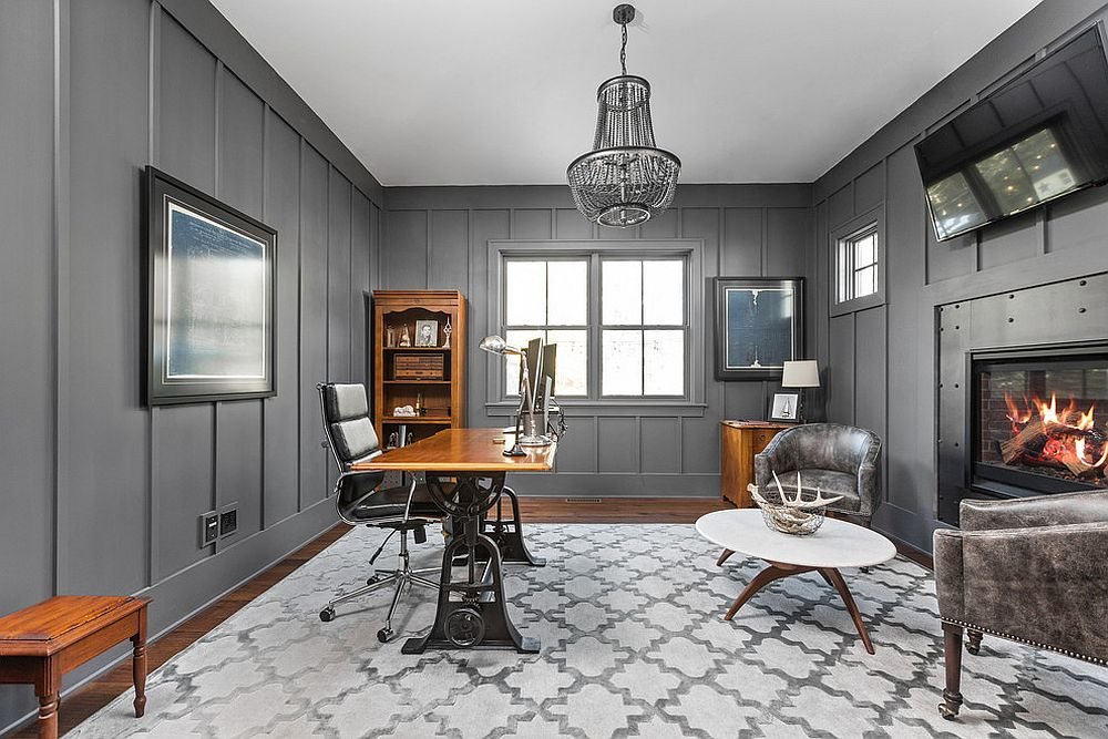 Modern farmhouse home office with gray walls and pattern-filled floor carpet