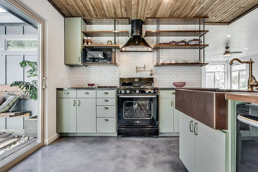 Modern industrial kitchen in white, wood and a dash of gentel pastel green