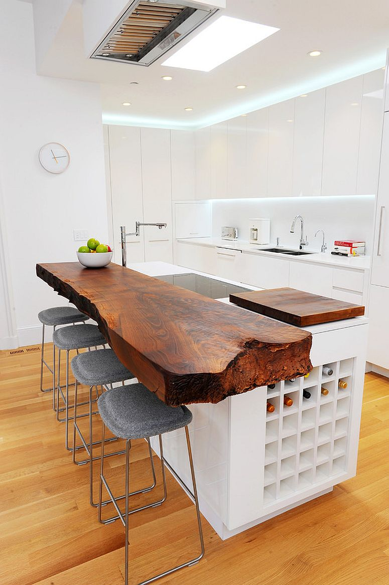 Natural wooden countertops with live-edge for the white kitchen
