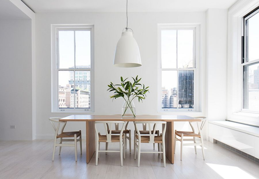 Oversized white pendant for the minimal Scandinavian dining room