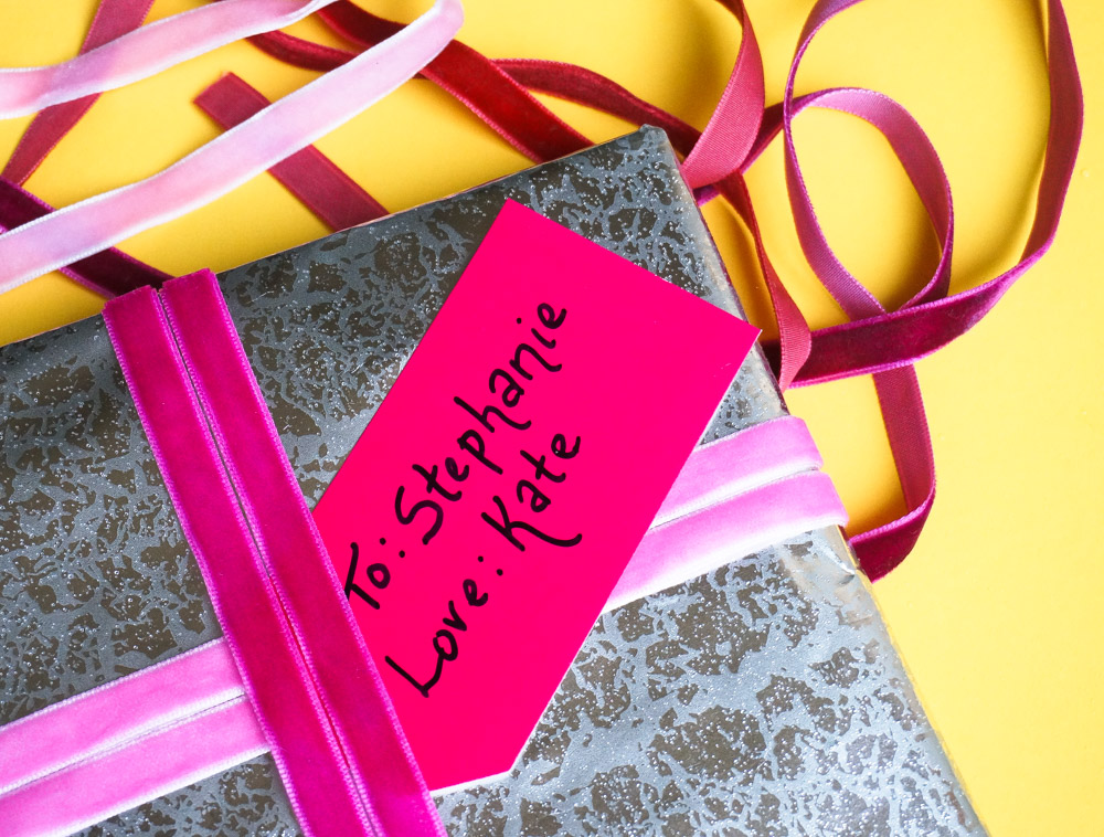 Pink gift tags add personalization