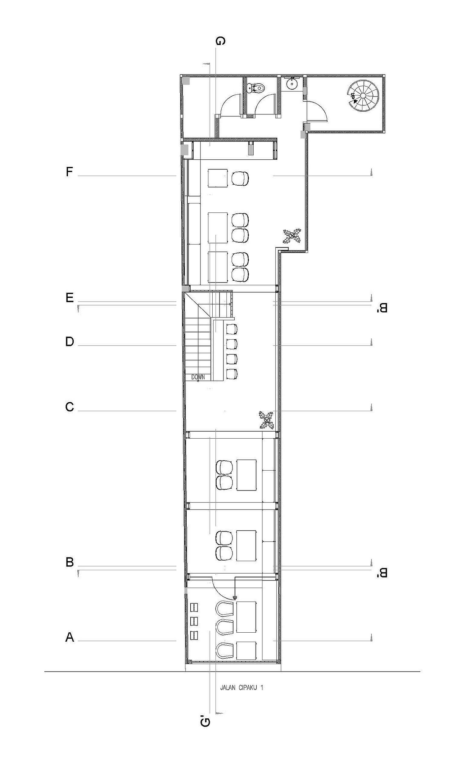 Second floor design plan of Cliq Coffee