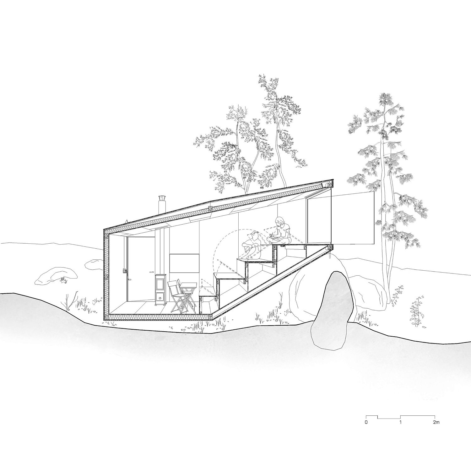 Sectional view of the Forest Retreat