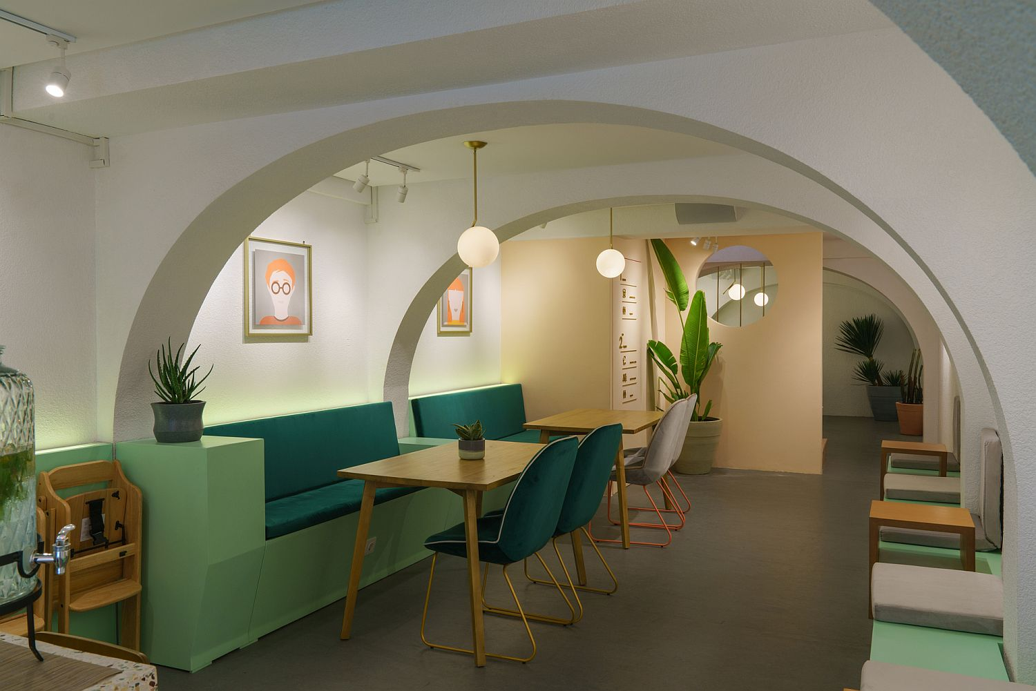 Series of arches gives the cafe interior a unique and classic appeal