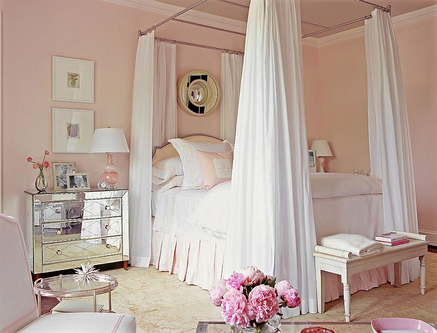 Shabby chic bedroom in pastel pink feels absolutely magical