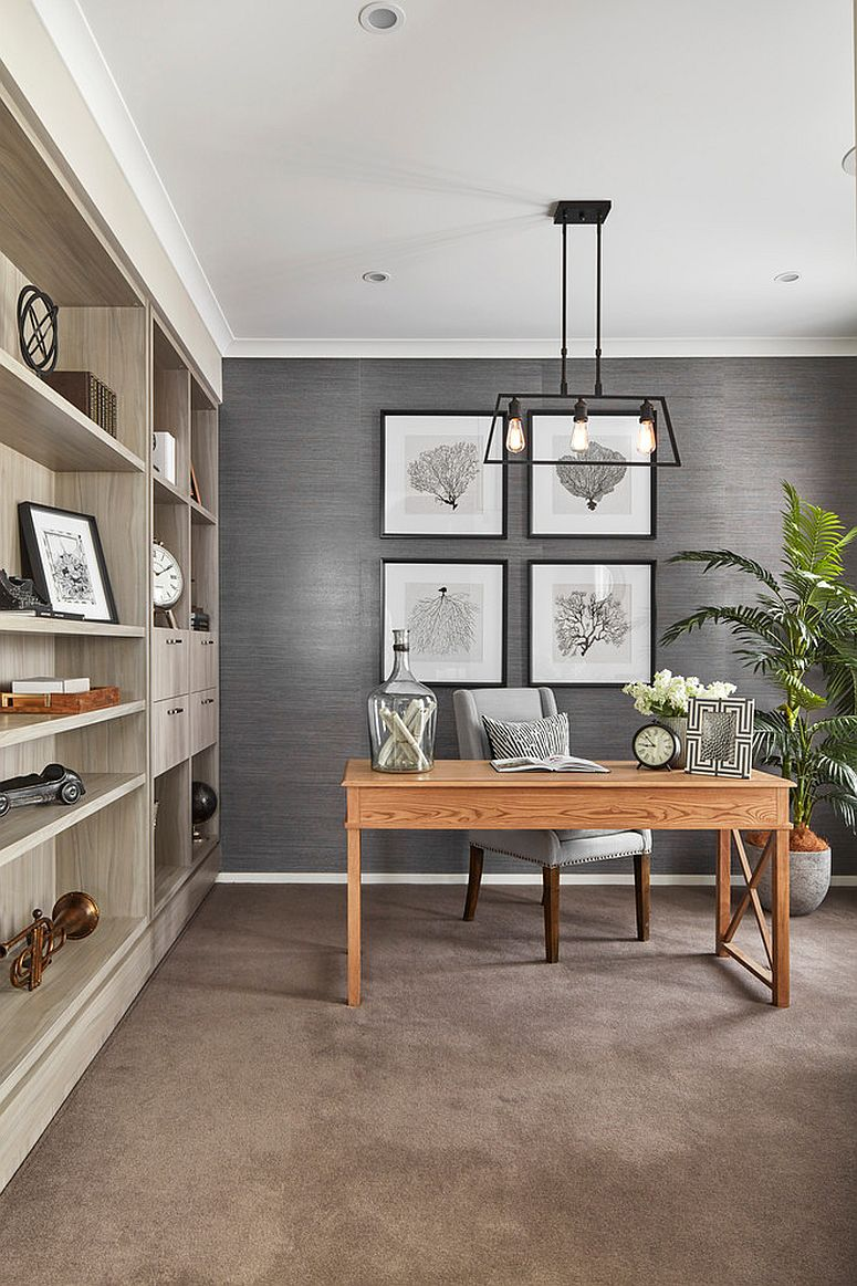 Smart and modern beach style home office in gray
