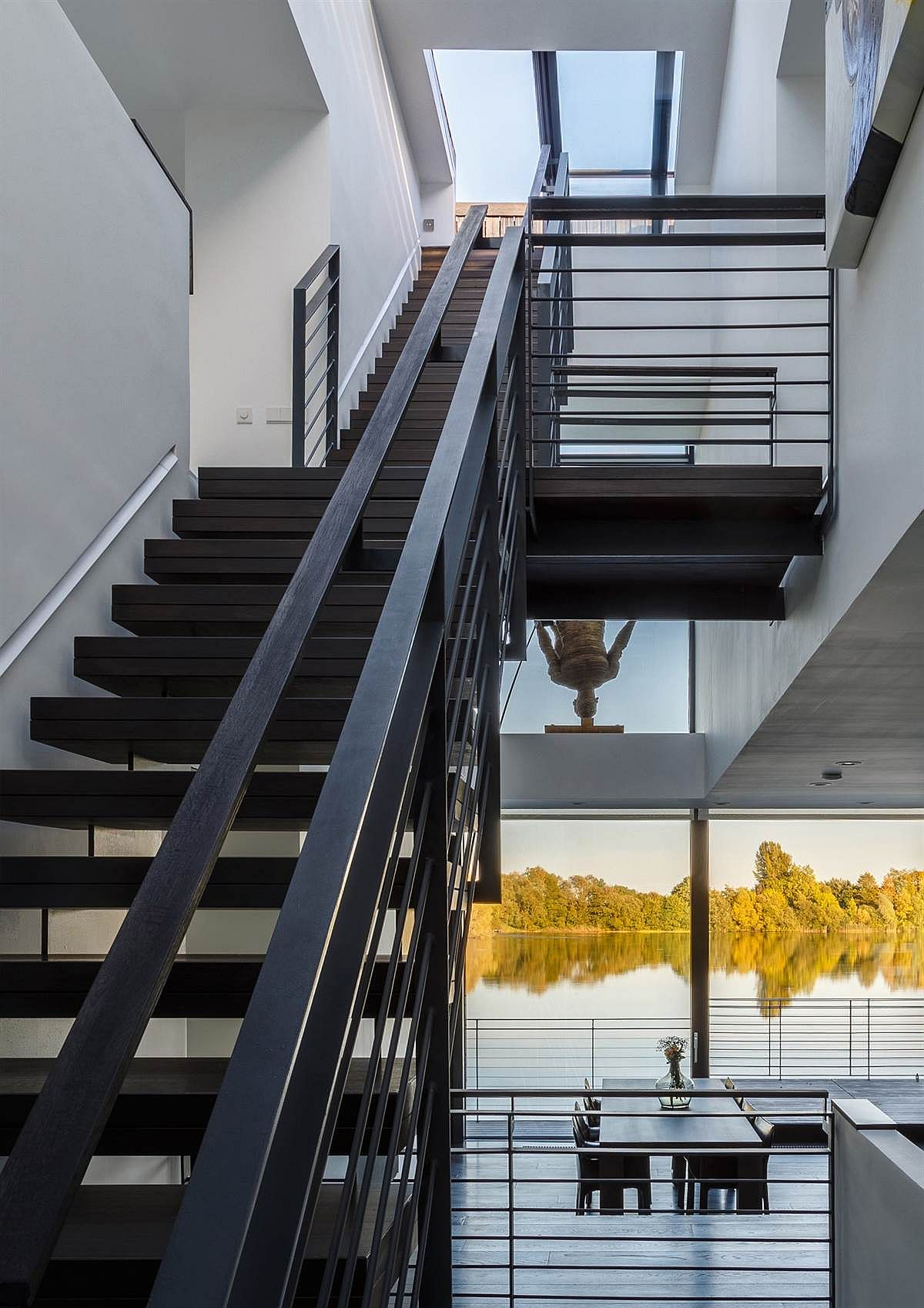 Staircase connects the different levels of villa with ease