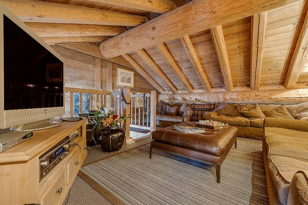 Study room with TV inside the luxurious French chalet