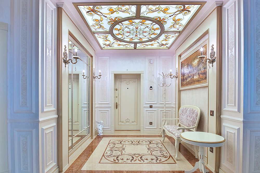 Stunning ceiling adds to the brilliance of the traditional entry