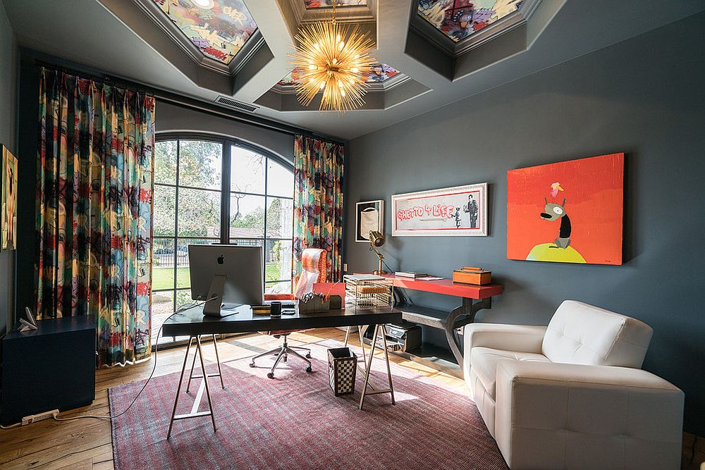 Stunning-ceiling-design-and-bright-lighting-for-the-unique-home-office